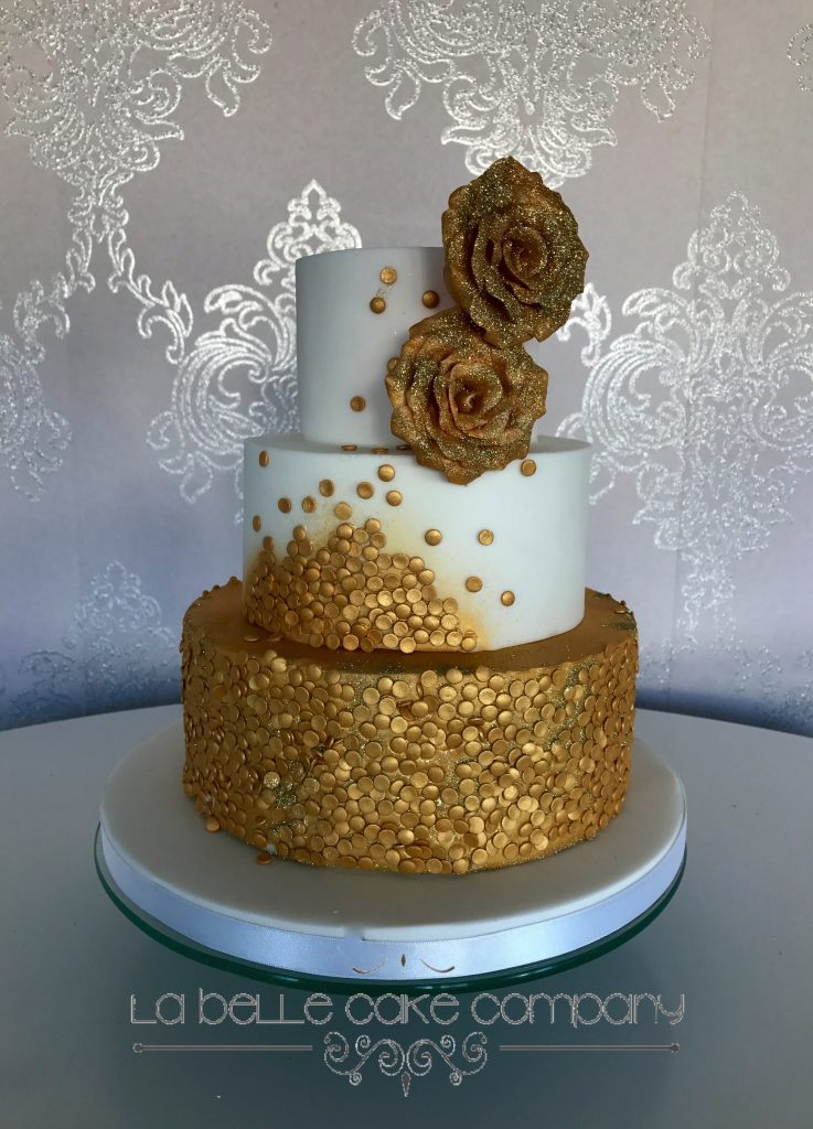 Gold Sequin Wedding Cakes