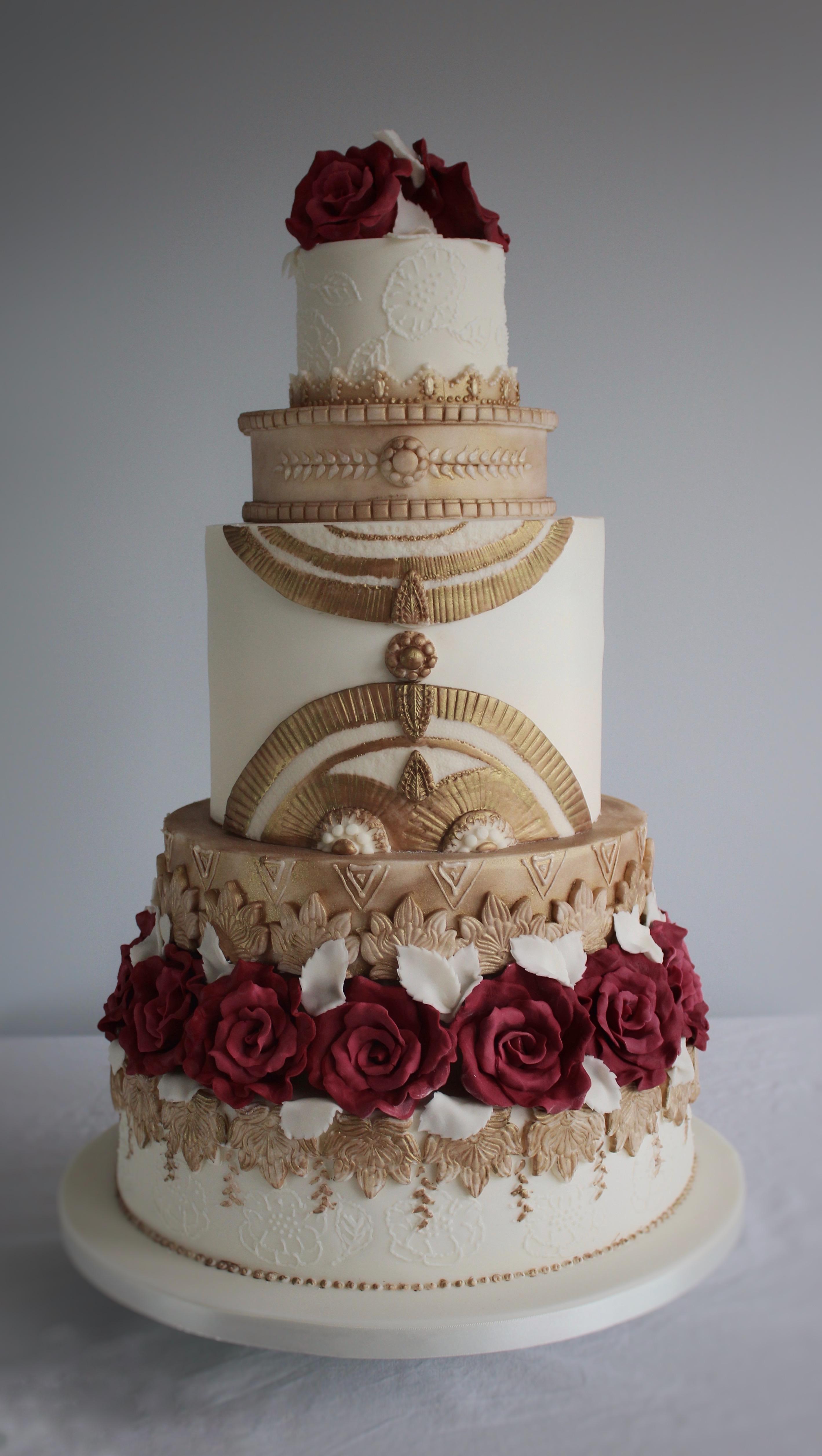 Art Deco Metallic Wedding Cake