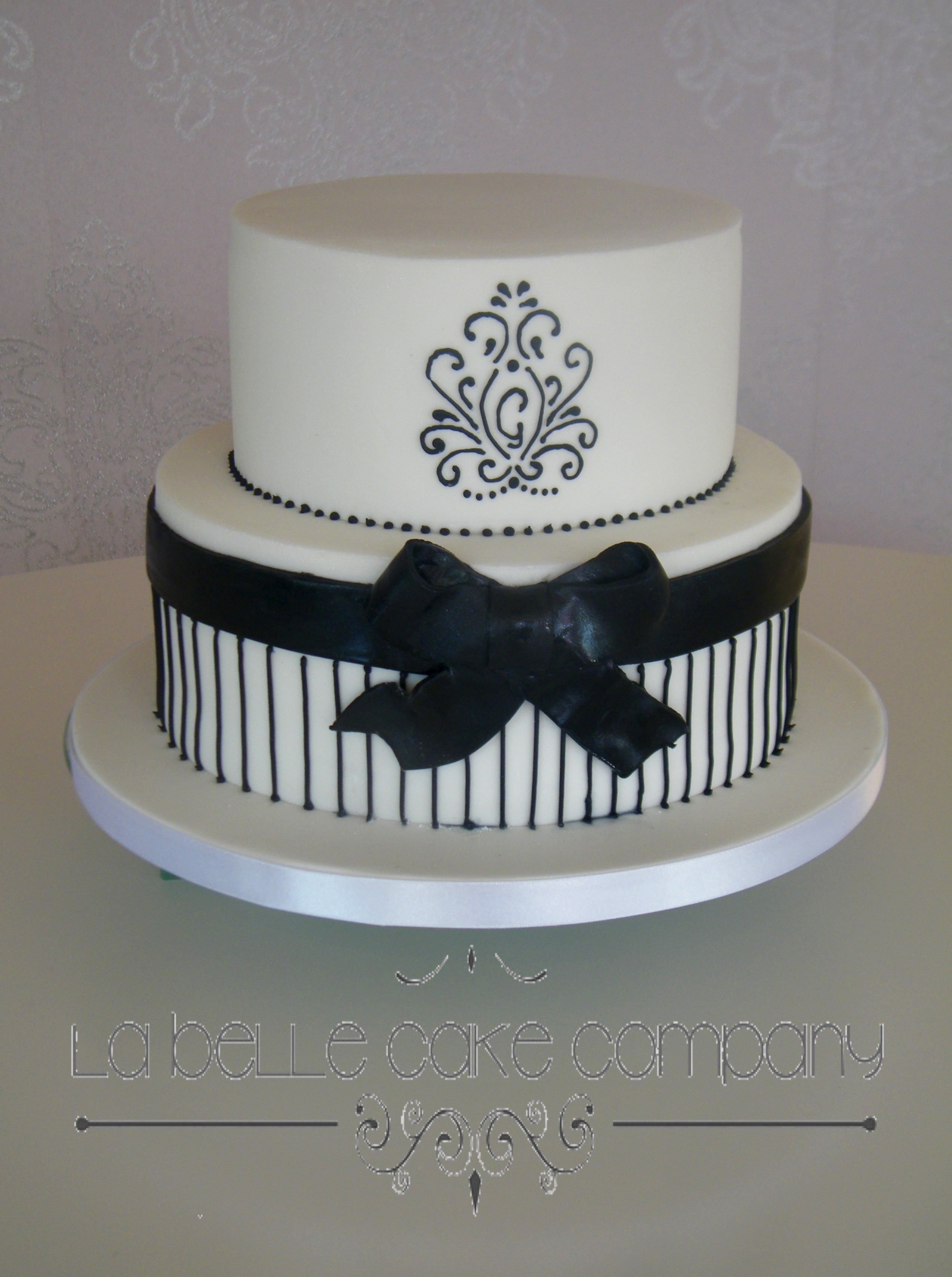 Two Tier Black And White Stylish Modern Female Birthday Cakes Bedfordshire Hertfordshire London