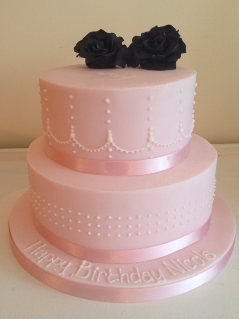 Two Tier Pink Female Birthday Cakes With White Piped Detail Bedfordshire Hertfordshire London And