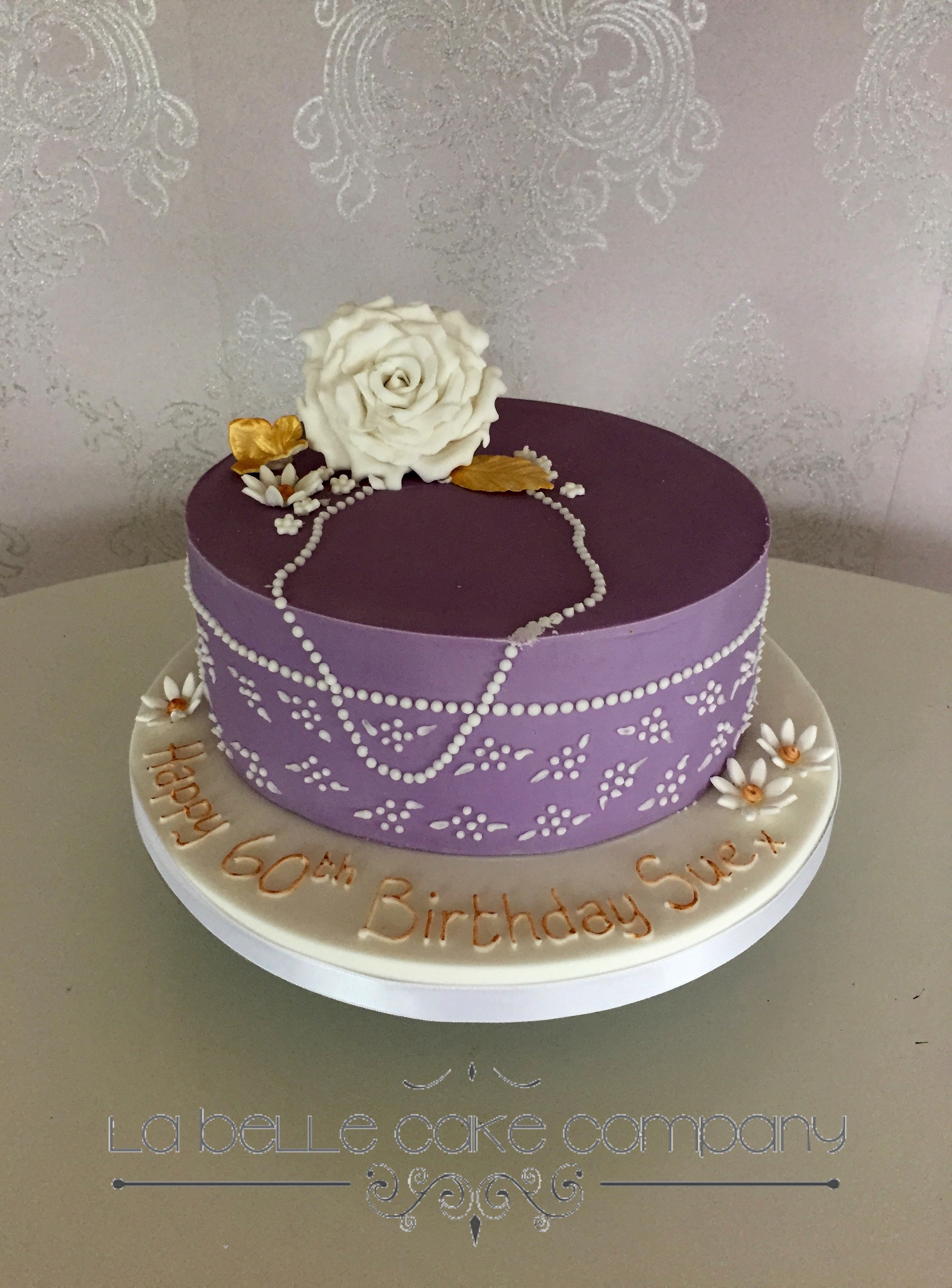 One Tier Purple Female Birthday Cakes With White Piped Detail And Pearls Sugar Rose Bedfordshire