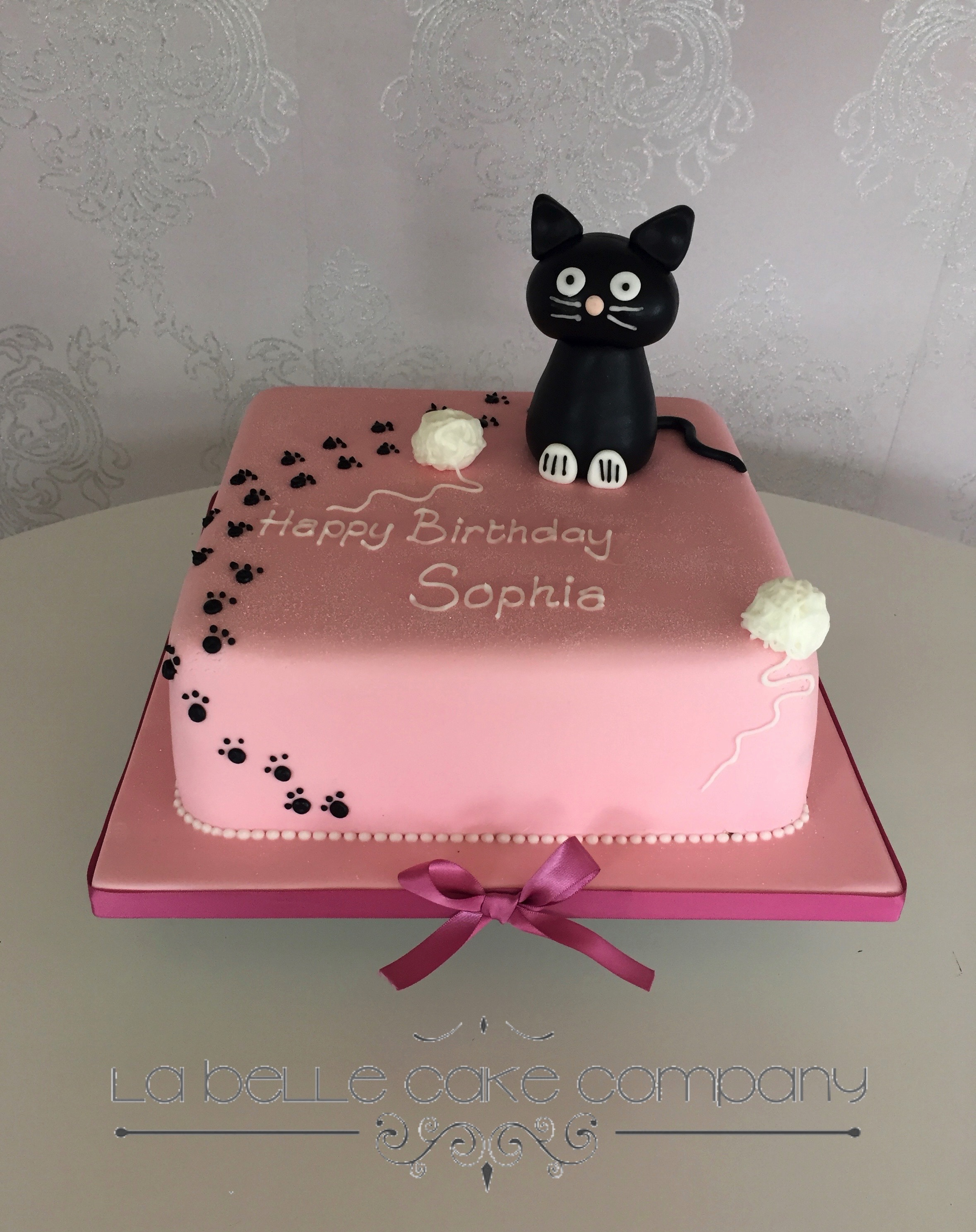 One Tier Pink Birthday Cake With Black Cat Female Cakes Bedfordshire Hertfordshire London