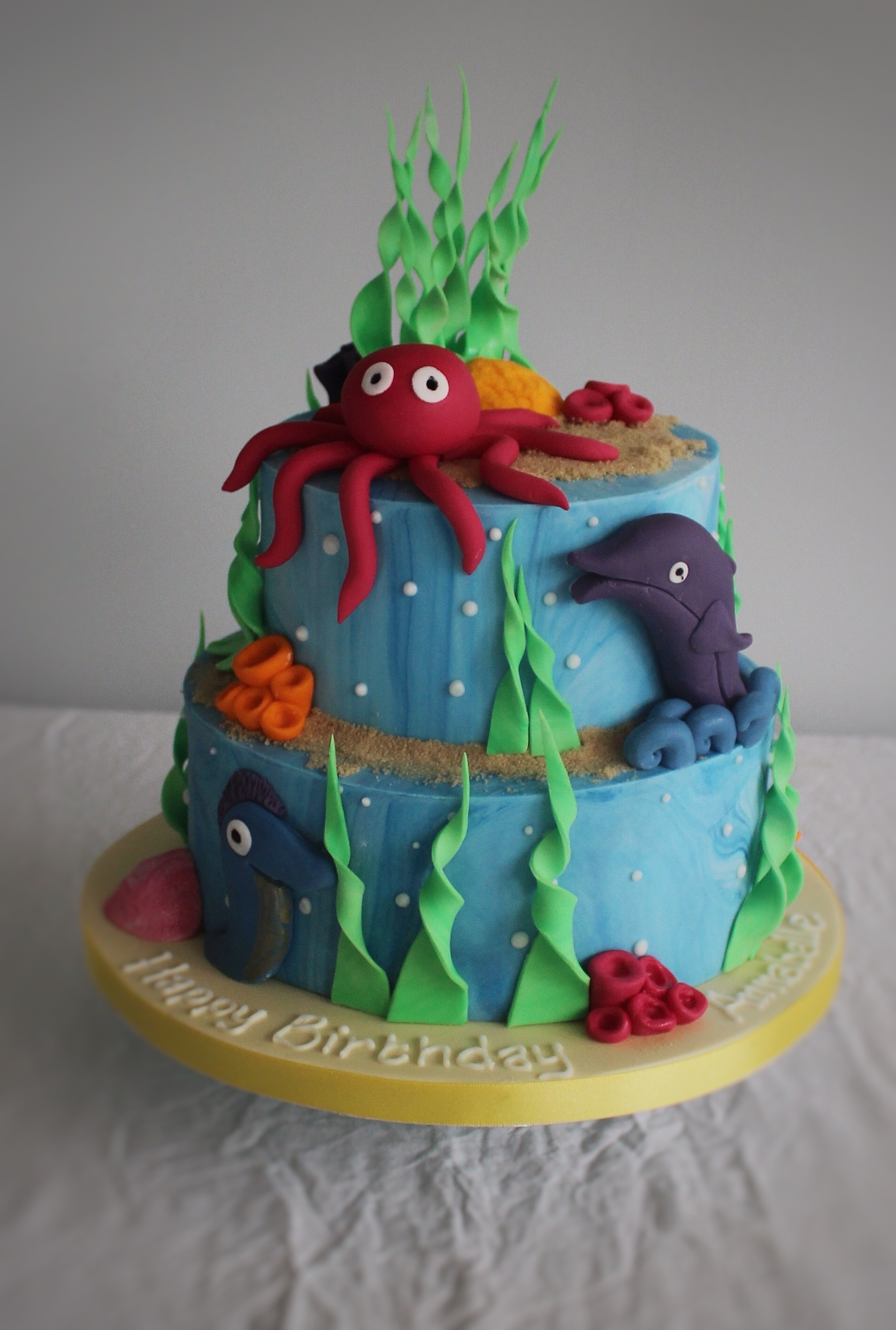 Two Tiered Under The Sea Themed Childrens Birthday Cakes London Bedfordshire Hertfordshire Buckinghamshire