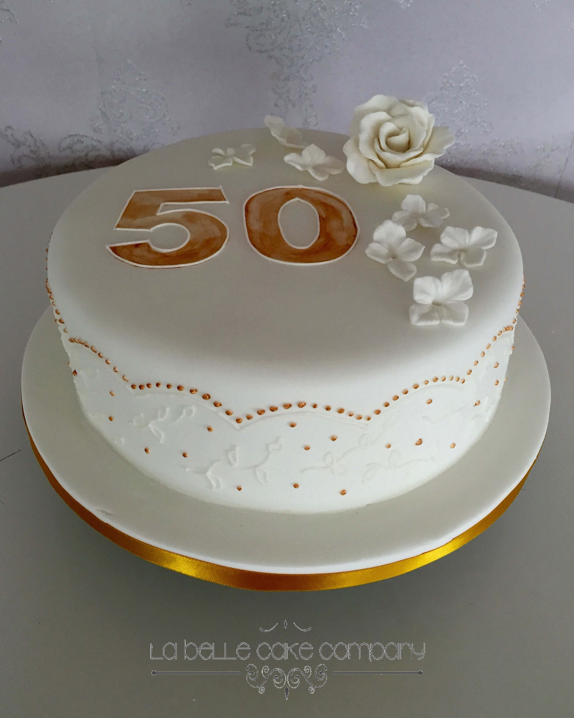 One Tier White And Gold Hand Piped 50th Female Birthday Cakes Bedfordshire Hertfordshire London