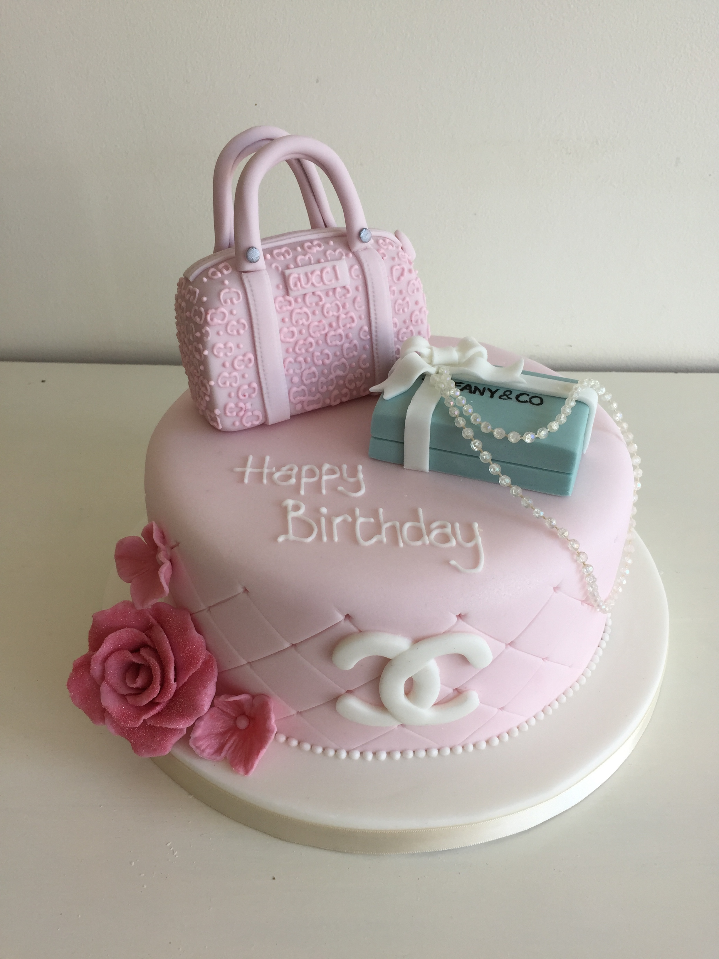 One Tier Designer Shopping Bags Female Birthday Cakes Channel Gucci Tiffany Bedfordshire Hertfordshire London
