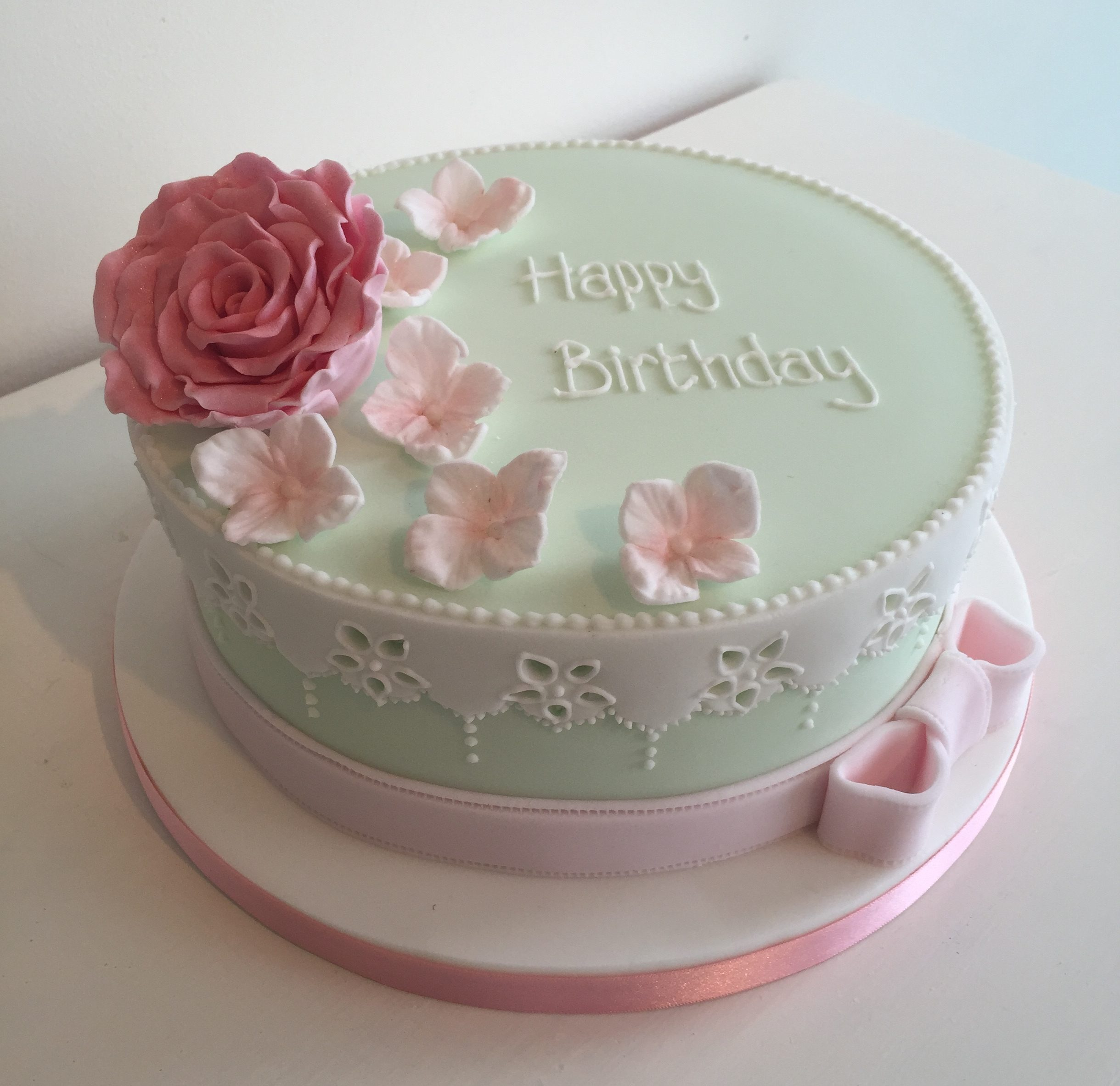 One Tier Mint Green Lace Female Birthday Cakes With Pink Flowers Bedfordshire Hertfordshire London