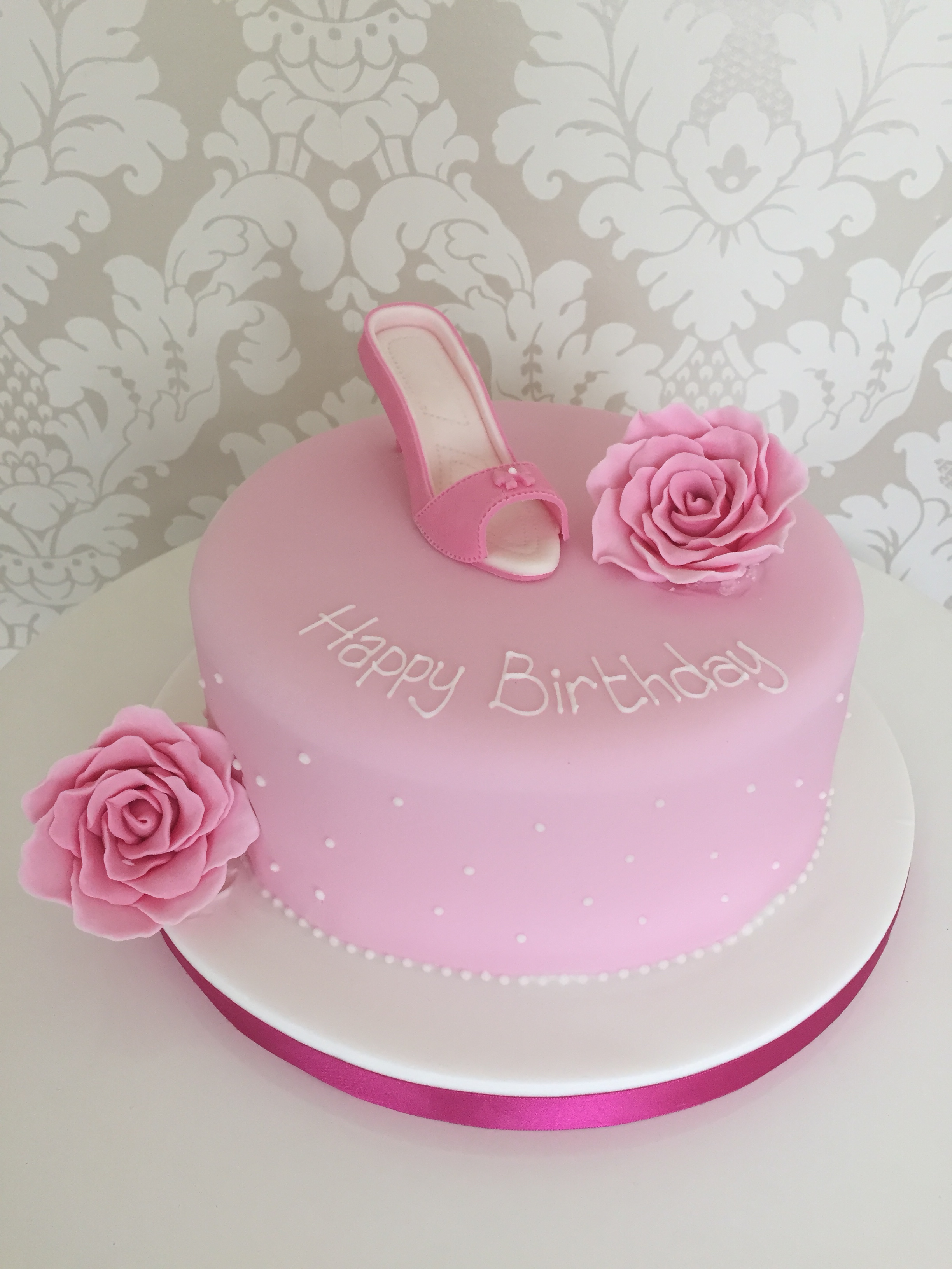 One Tier Pink Shoe Female Birthday Cakes Wit Sugar Roses And White Hand Piped Detail Bedfordshire