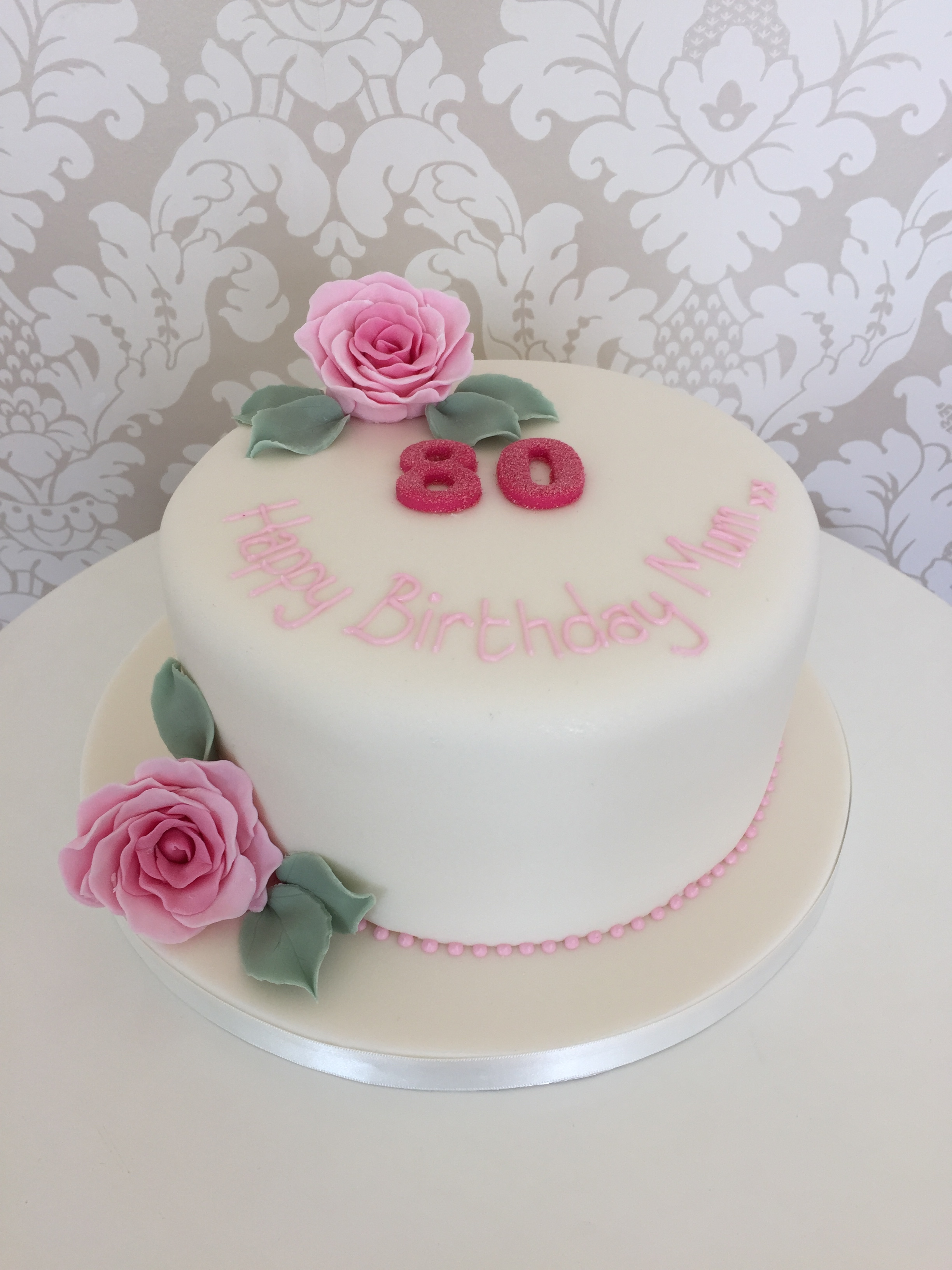 One Tier Female 80th Birthday Cakes With Pink Sugar Roses Bedfordshire Hertfordshire London And