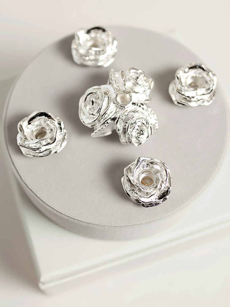 5 Silver Plated Rose Cake Candleholders